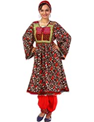 Exotic India Black And Red Floral Printed Flaired Suit From Afghanistan - Black