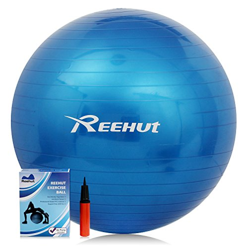 Reehut Anti-Burst Core Exercise Ball for Yoga, Balance, Workout, Fitness w/ Pump (Blue, 55CM)
