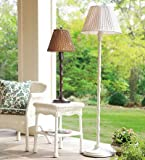 All-Weather Outdoor Rattan Wicker Floor Lamp in Off White