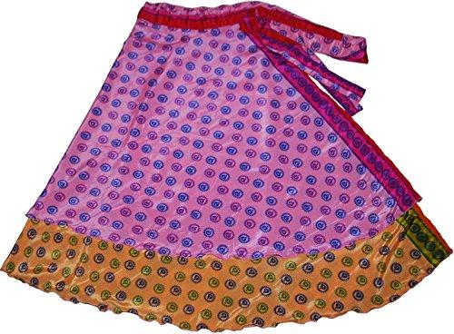 Indian Reversible Magic Sari Art Silk Wrap Around Skirt