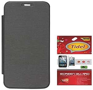 Tidel Black Durable Premium Flip Cover Case for Micromax Canvas Elanza 2 A121 With Tidel Screen Guard