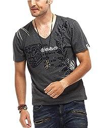 Chlorophile Men's V Neck Cotton T-Shirt (Afr_Anthra Melange_X-Large)