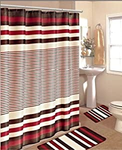 15PC BURGUNDY BROWN STRIPE BATHROOM BATH MATS SET RUG CARPET SHOWER CURTAIN