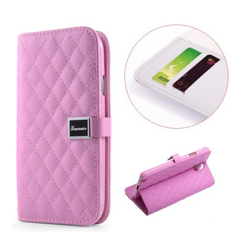 Moon Monkey Classical Plaid Soft Leather Cover Cases Wallet With Card Slots Feature For Samsung Galaxy S5 (Pink)
