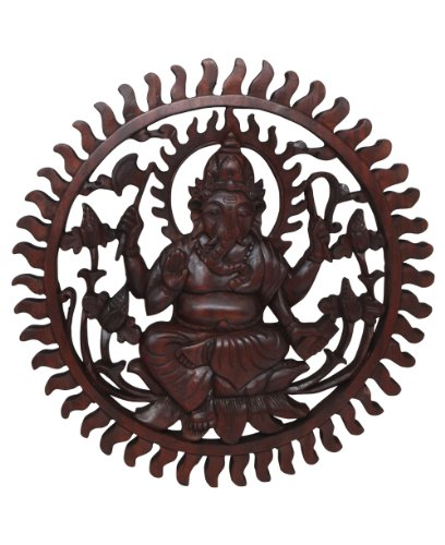 Ganesh Hand Carved Wooden Wall Hanging