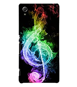 abstract musical note in rainbow colours in a black background 3D Hard Polycarbonate Designer Back Case Cover for Sony Xperia Z3+ :: Sony Xperia Z3 Plus
