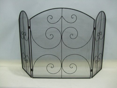 Buy Black Metal Fireplace Mesh Screen Scroll Design