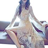 LACS Vintage Night Gown Cardigan Floral Lace Bridal Robe Pajamas