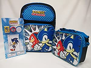 Sonic the hedgehog large 16 backpack book bag for Decor 6 piece lunchbox