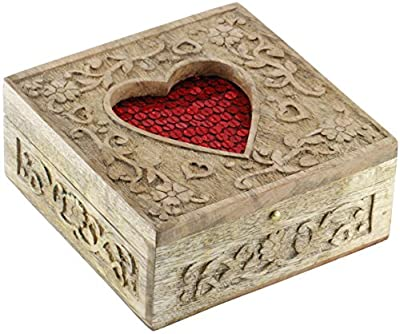 SouvNear The Red Heart Love Box - 2015 Valentine's Day Special - Sweet Hand-Carved Wooden Jewelry Box
