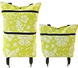 【SCGEHA】キャリーバッグ ショッピングカート 軽量 コンパクト 折りたたみ 持ち運びに便利 カラフル ドット キャスター収納可 大きさ2段階! (ライトグリーン/ボタニカル)