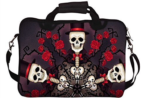 Snoogg Skeletons In Tophats 2695 rose e stampa con tracolla per Laptop da 15/15,6 ""
