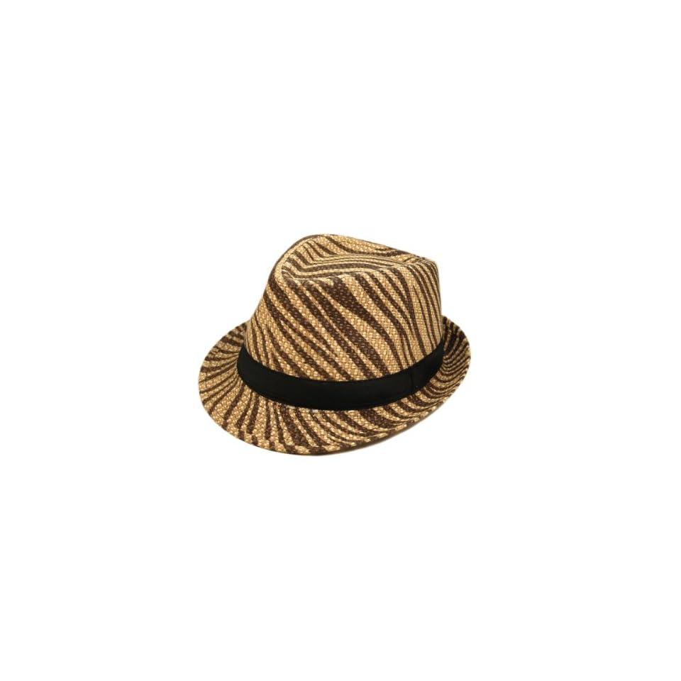 526d848d Unisex Dark Brown Zebra Print Black Band Fedora Straw Hat on PopScreen