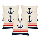 Khrysanthemum Oxford Cotton Nautical Anchor Cushion Cover (Set Of 5) - 16 x 16 inches, Multi