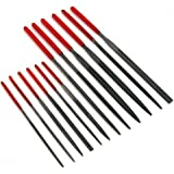 SE - Needle File Set - Dipped Handles, 6 x 100mm/6 x 140mm - 7386DNF