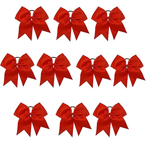 CN Girls Cheer Bow with Ponytail Holder for Cheerleading Girl Pack of 10 Color Red (Cheer Pack compare prices)