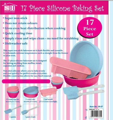 17 Piece Silicone Bakeware Baking Set - Cupcake, Round Cake, Loaf Moulds + Spatula & Pastry Brush