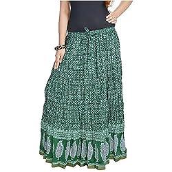 SHREEMANGALAMMART Rajasthani Dark Green Fine Cotton Skirt (Dark Green)(SMSKT565)