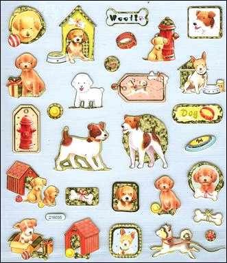 Tattoo King SK129MC-4130 Multicolored Sticker, Puppy Love - 1