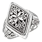 925 Silver Marquise Filigree Scroll Ring- Size 6