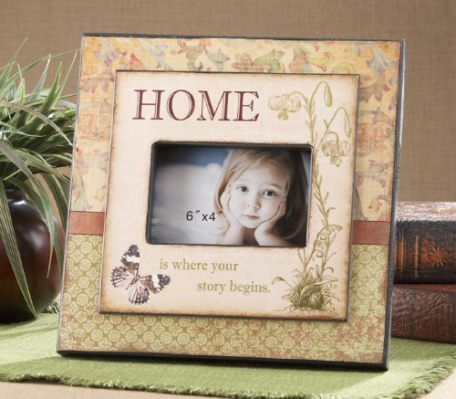 "11.6"" Wood Butterfly Home Frame - Fits Horizontal 4x6 Photo"