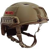 OneTigris BJタイプ ミリタリー系 エアソフトヘルメット 米軍風レプリカ装備 多機能サバゲーヘルメット マウントレール付き かっこいいヘルメット オリジナル Ops-Core Fastヘルメット 調整可能 軽量 (ブラウン)