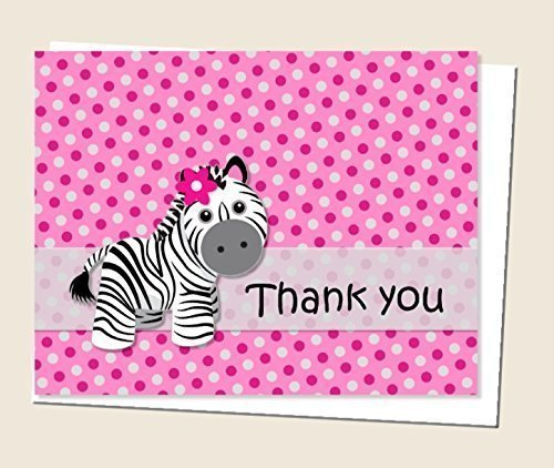 Pink Girl Zebra Thank You Cards and Envelops (Set of 12) (Zebra Baby Shower Invites compare prices)