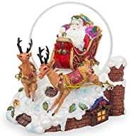 5.5″ Santa Sleigh and Reindeers Deliver Christmas Gifts Musical Snow Globe