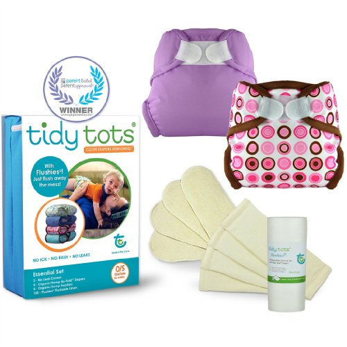 Tidy Tots Cloth Diaper Essential Set (One Size 10-40 lbs)-Orchid and Pink Circles