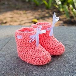 Love Crochet Art Newborn Infant Baby Girl/Boy Socks/ Booties for New Born - Peach