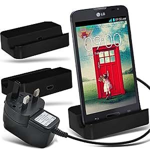 (Black)LG L90 D405 Micro-USB-Desktop-Ladestation stehen Mount & Micro USB CE-Zulassung UK 3 Pin Netz Reise-Ladegerät By Fone-Case