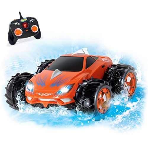 KidiRace Amphibious Remote Control Car - Orange - 360 Degree Spin Aqua Stunt RC Car (Battery For Car Control Remote compare prices)