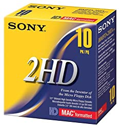 Sony 10MFD2HDCFM 2HD Mac Formatted Floppy Disks 10-Pack Discontinued by Manufacturer