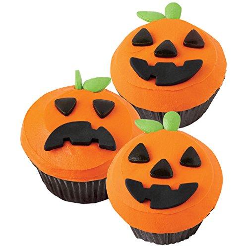 Decoración de Cupcake de hace 24-jack-o-lantern/se vende como un paquete de 4