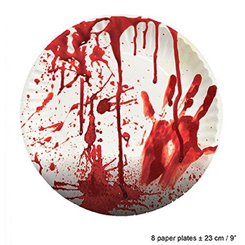 Blutige Pappteller / Halloween / Teller / Partygeschirr 8 Stück / Halloweendekoration