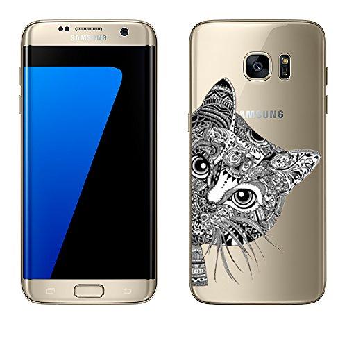'Samsung Galaxy S6di licaso® in TPU protegge il tuo S65,1per cellulare Cover Case trasparente chiara per cellulare GalaxyS6galaxys7Borsa silicone Style, Katze Schwarz, Samsung Galaxy S7 Edge