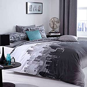 Catherine Lansfield City Scape Silhouettes Grey Duvet Set by Catherine Lansfield