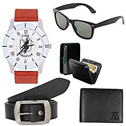 Lime offers combo of wayfarer sunglasses with watches cardholder leather wallet and belt