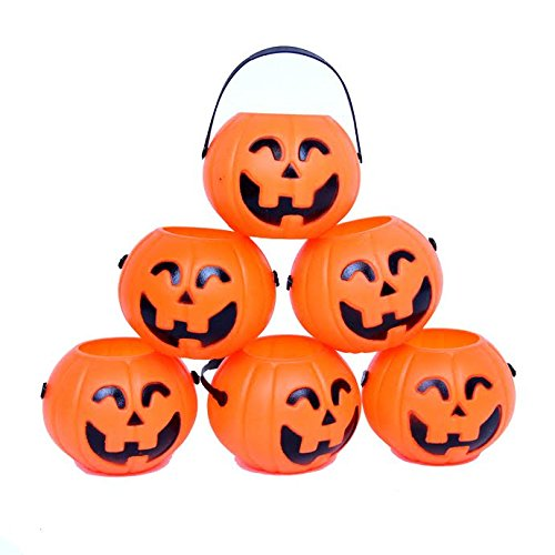 Dazzling Toys Mini Halloween Pumpkin Candy Holders with Handles - Pack of 12 - Great Use for Part Favors