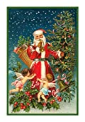 Counted Cross Stitch Chart Victorian Father Christmas Santa with Cherubs and Christmas Tree