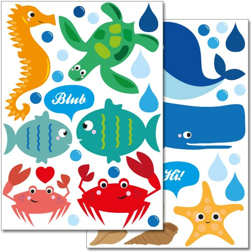"Wandkings wall stickers ""Sweet and Colourful Sea Creatures"" Sticker Set - more than 40 stickers on 2 A4 sheets"