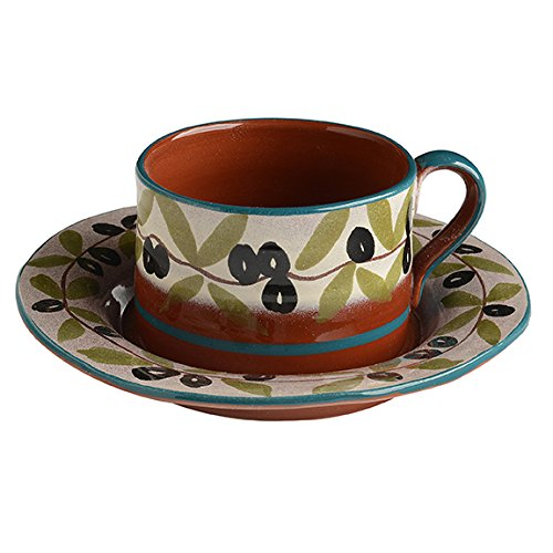 Italian Dinnerware - Espresso Cup and Saucer - Handmade in Italy from our Olive and Blue Collection (Espresso From Italy compare prices)