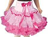POPATU - Pink Petti Skirt with Hotpink Ruffles and Sparkling Silver Dots