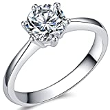 Jude Jewelers 1.0 Carat Classical Stainless Steel Solitaire Engagement Ring (Silver, 8) (Color: Silver)