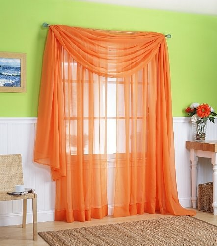 "2 Piece Solid Orange Sheer Window Curtains/drape/panels/treatment 58""w X 84""l"