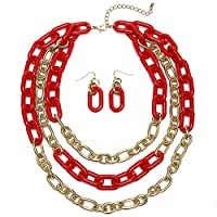 Heirloom Finds Triple Stand Crimson Red & Gold Tone Chain Links Necklace from Heirloom Finds