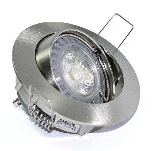 6er Set Power LED Bad-Spots Einbauleuchten Einbaustrahler Einbauring Deckenstrahler Jerry Edelstahl-gebürstet 5W KALTWEISS DIMMBAR für Hohlraumdecken Feuchtraum geeignet