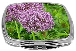 Rikki Knight Compact Mirror, Purple Allium Flowers