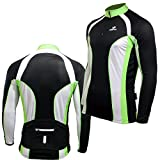 Deko Deimos Mens Bike Long Sleeve Cycling Jersey, Retro Top Cycle Shirt, Black Green,White,