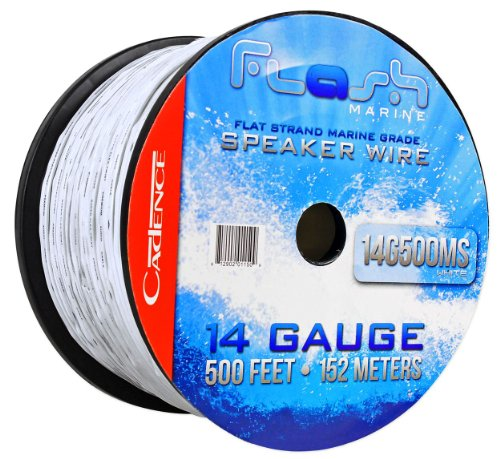 Cadence 14G500MS-W 125′ Foot 14 Gauge White Marine/Boat Braided Professional Speaker Wire With Super-Flex Design (CUT FROM 500′ SPOOL)